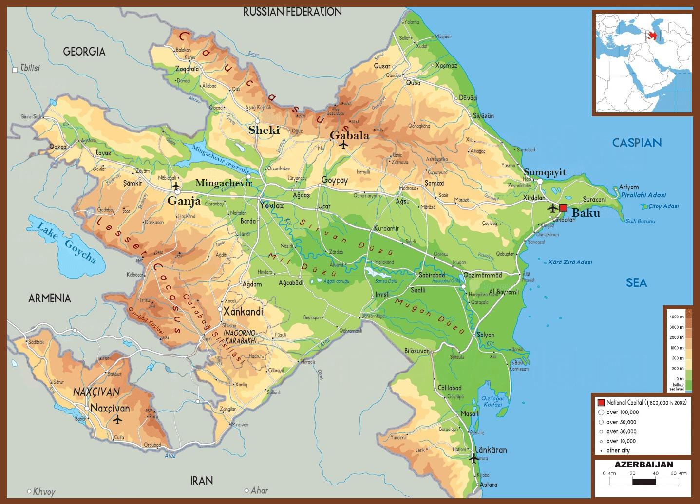 Karte Von Aserbaidschan Enctours